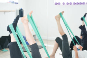 Pilates class with resistance bands hampshire