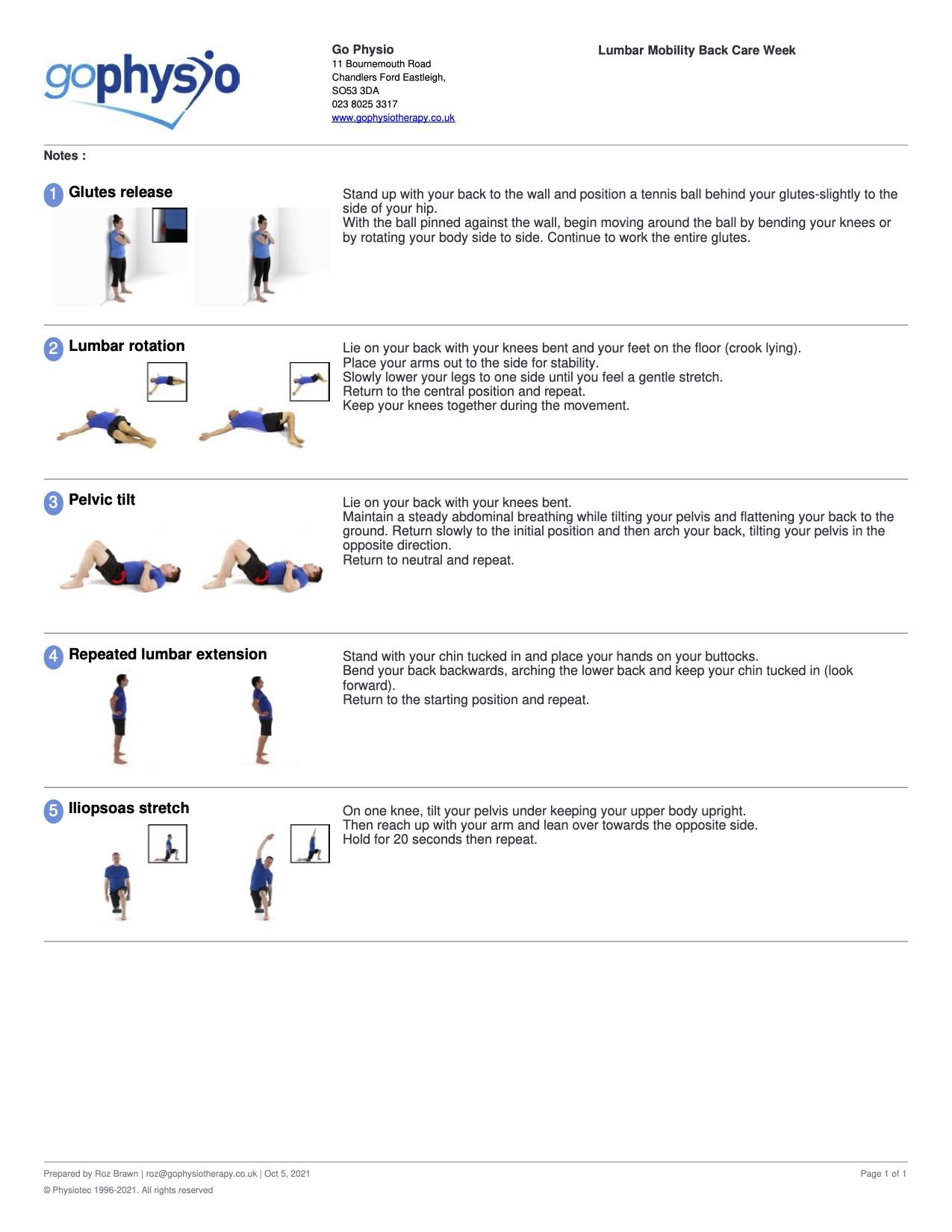 BackCare Awareness Lumbar Exercises