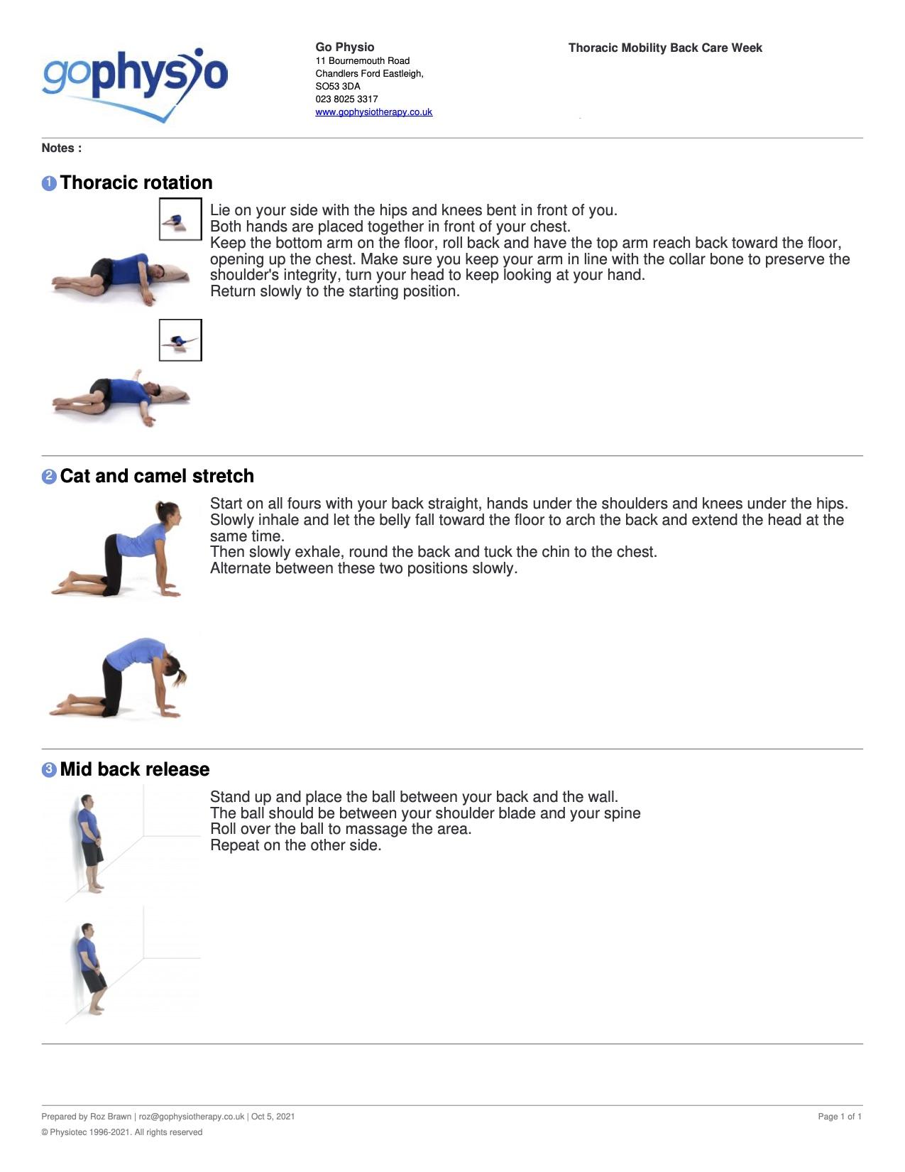 BackCare Awareness Thoracic Exercises